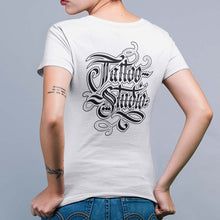 Load image into Gallery viewer, Women's Tattoo Studio Hand-Letter V-Neck