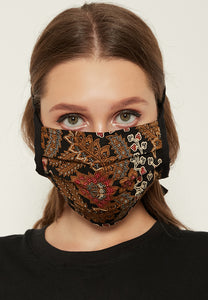 Adjustable Batik Cloth Mask - Floral Leaves