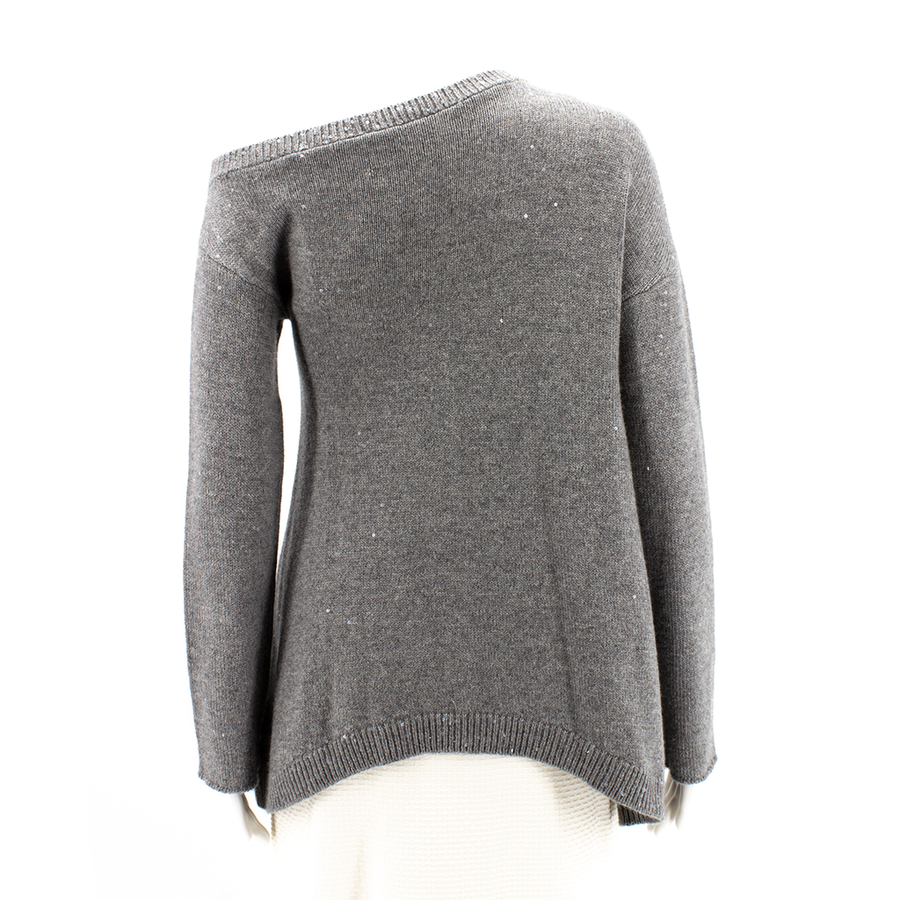 BRUNELLO CUCINELLI Gray Asymmetrical Cashmere Sweater SWEATERS GREY M