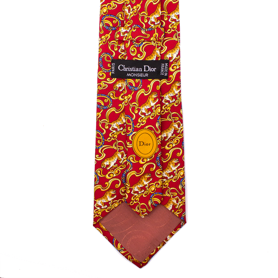 CHRISTIAN DIOR TIGER PRINT TIE MENS ACCESSORIES RED MULTI