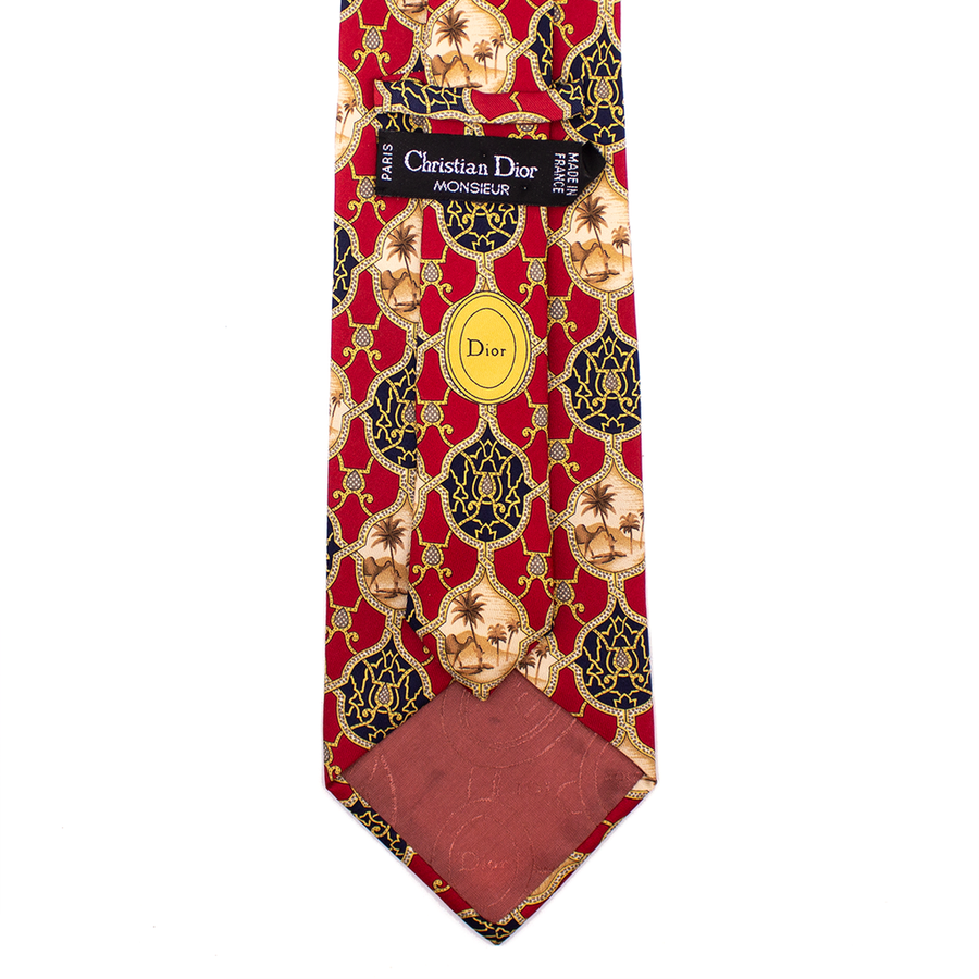 CHRISTIAN DIOR SILK TIE MENS ACCESSORIES RED PRINT