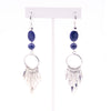 Blue Sandstone Silver Tassel Earrings