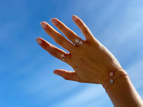 White gold and rose gold jewelry