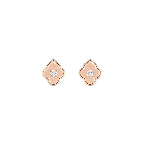 Luce - 1 Diamond Rose Gold Stud Earrings