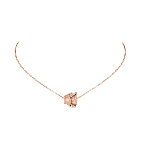 Rose of Hope - Satin Rose Gold and Diamond Pendant