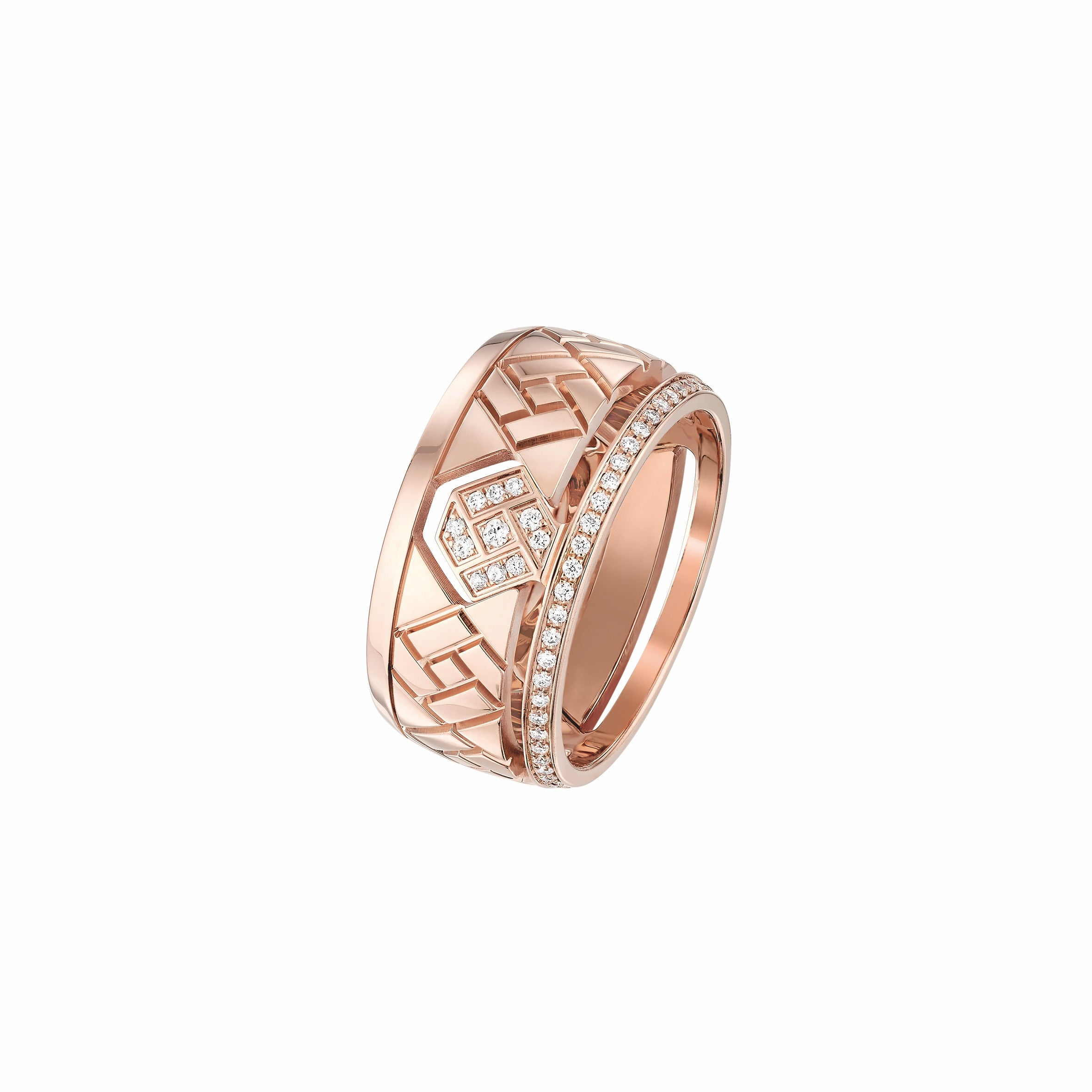 Rose Gold - The Grafik Small Ring with Diamonds
