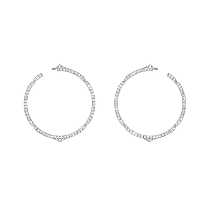Aura - White Gold Diamond Hoops
