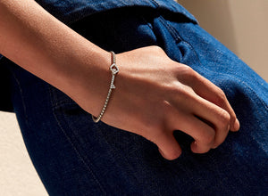 The Key - White Gold and Diamond Stretch Bracelet
