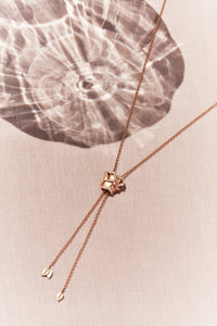 Rose of Hope - Satin Rose Gold and Diamond Necklace