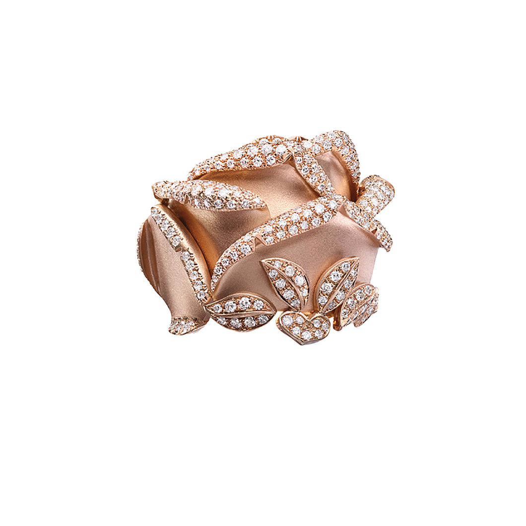 Rose of Hope - Satin Rose Gold and Diamond Ring