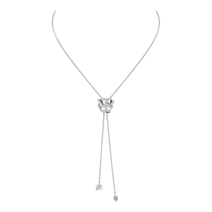 Rose of Hope - Satin White Gold Necklace