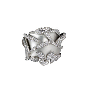 Rose of Hope - Satin White Gold and Diamond Ring