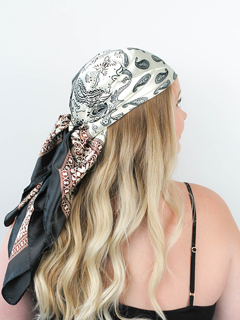 Black White and Brown Paisley Hair Scarf