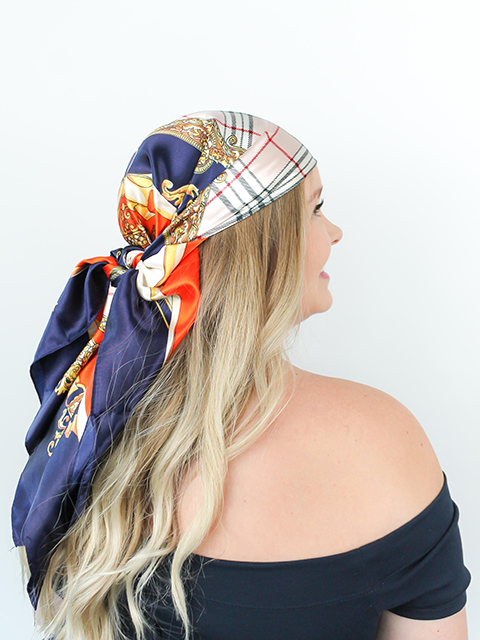 Luxe Navy Hair Scarf