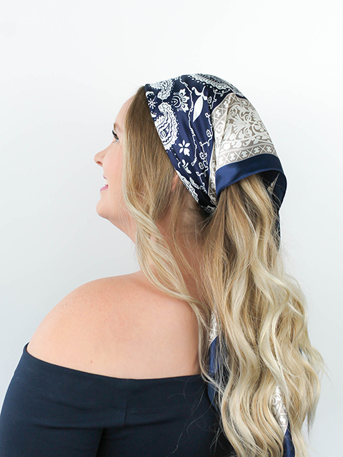 Navy and White Paisley Hair Scarf