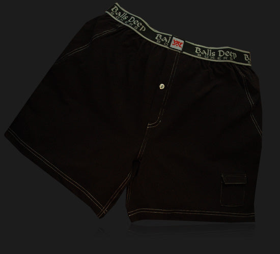 Balls Deep Men's Boxers In Black/Black
