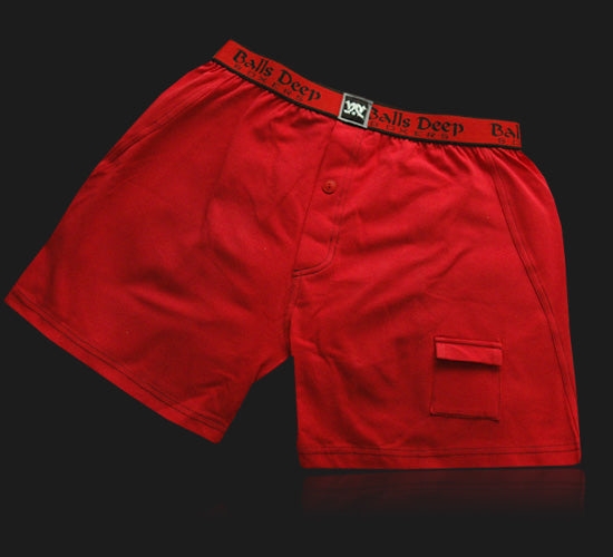 Balls Deep Men's Boxers In Red/Red