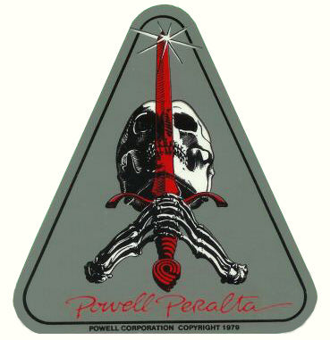 "Powell Peralta Sword and Skull Skateboard Sticker w/ ""Red sword"""
