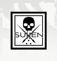 "Sullen Badge Square Sticker In White (4"" x 4"")"