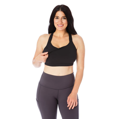 All In One Nursing & Hands-Free Pumping Sports Bra 3.0 - Black