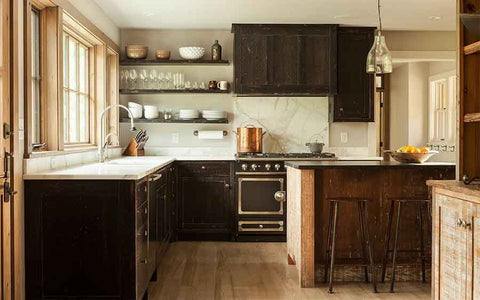 A view of a barnwood kitchen