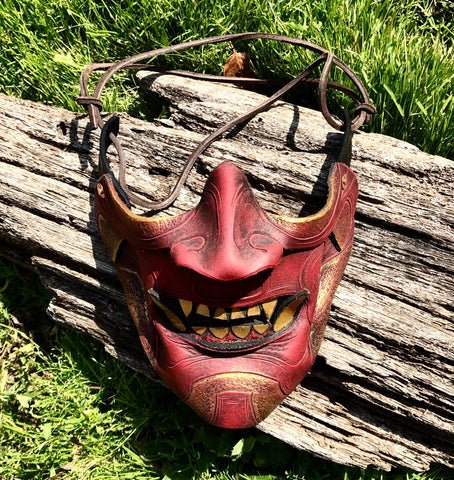 Red Samurai Mask - Leather
