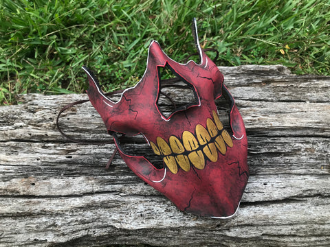 Red Skull Mask - Leather