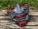 Red and Grey Samurai Mask - Leather