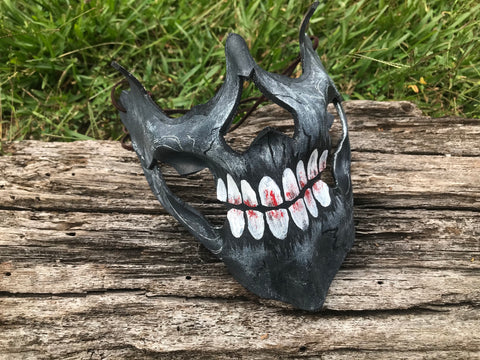 Grey Ghoul Skull Mask - Leather