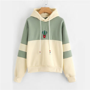 Ladies Casual Sporty Pullovers Sweatshirt Dropshipping Drawstring Color Block Cactus Embroidered Hoodie SpringAutumn Long Sleeve