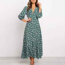 Load image into Gallery viewer, Floral Printed V-neck Single-breasted High Waist Chiffon Long Dress Ladies Boho Beach Style Women Party Dresses Vestidos