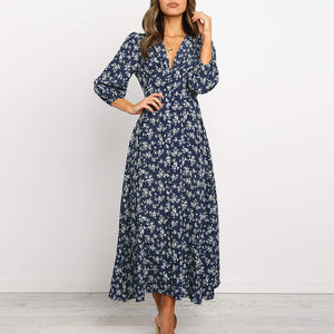 Floral Printed V-neck Single-breasted High Waist Chiffon Long Dress Ladies Boho Beach Style Women Party Dresses Vestidos