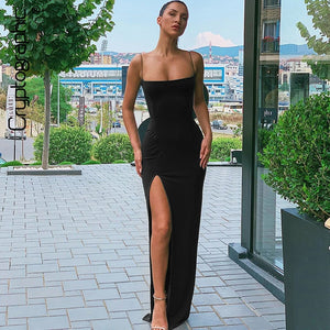 Cryptographic Sexy Women's Maxi Dresses Strap Backless Split Long Dress Fashion Fall 2019 Elegant Ladies Party Club Dresses