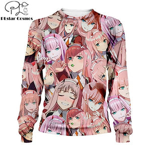 PLstar Cosmos  Darling in the Franxx 3d hoodies/shirt/sweatshirt Hipster Anime Unisex Face Tops Kawaai Cute Pullovers-1