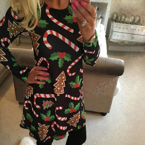 5XL Christmas Tree Santa Snowman Dress Women Autumn Long Sleeve Mini Dresses Casual New Year Festival Family Party Dress Vestido