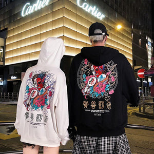 Fashion Harajuku Hoodie Sweatshirt Mens Casual Black Hip Hop Japan Print Hoodie Streetwear Clothing Top Coat Male Winter 2XL