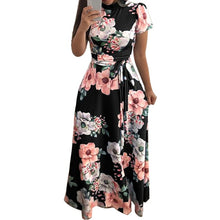 Load image into Gallery viewer, KANCOOLD Dress Fashion Women O-Neck Floral Printed Short Sleeve Dress Empire Sashes Casual Bandage Dress women 2018AUG8