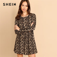 Load image into Gallery viewer, SHEIN Multicolor Leopard Print A Line Mini Dress Women Casual Highstreet Long Sleeve Round Neck Autumn Minimalist Dresses