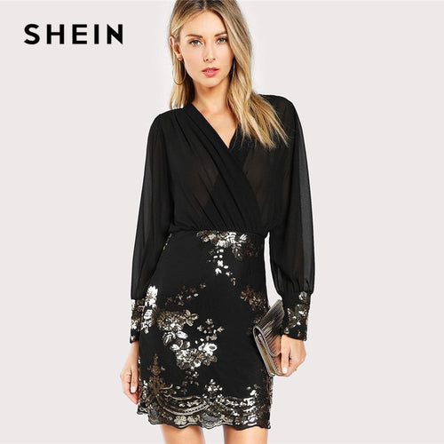 SHEIN Black See Through Wrap Floral Sequin Bodice Party Dress Women 2019 Spring V Neck Long Sleeve Sheath Slim Elegant Dresses