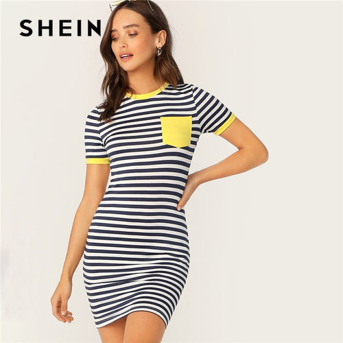 SHEIN Pocket Patched Striped Ringer Tshirt Casual Dress Women Short Sleeve Preppy Round Neck Summer Dress Slim Bodycon Dresses