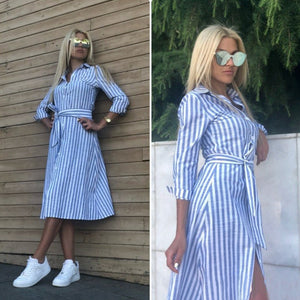 Women Vintage Blue Striped Sashes Dress Seven Sleeve Turn-Down Collar Casual Dress 2019 New Summer A-line Party Women Dresses