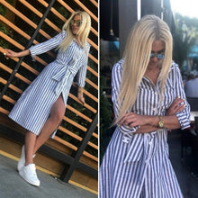 Load image into Gallery viewer, Women Vintage Blue Striped Sashes Dress Seven Sleeve Turn-Down Collar Casual Dress 2019 New Summer A-line Party Women Dresses