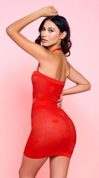 Red Fishnet Dress with Hearts