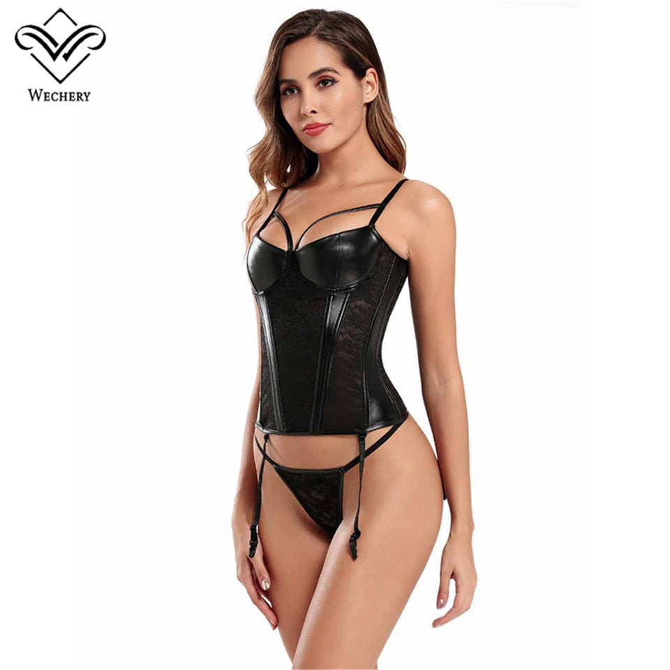 Tempting Faux Leather Corselet