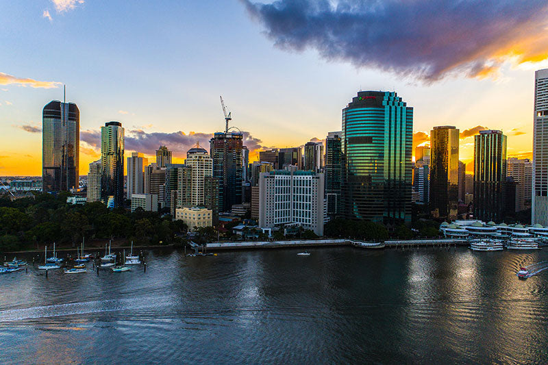 aerial imagery by my drones brisbane city high rise buildings at golden hour droneography