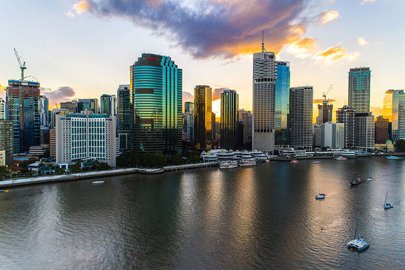 aerial imagery by my drones brisbane city sunset of high rise buildings droneography