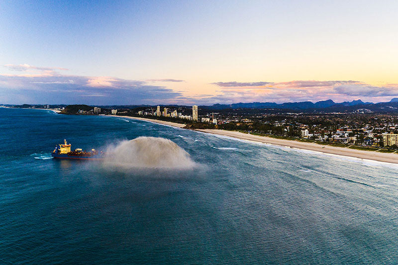 aerial imagery by my drones large boat dredging sandbar on gold coast queensland droneography