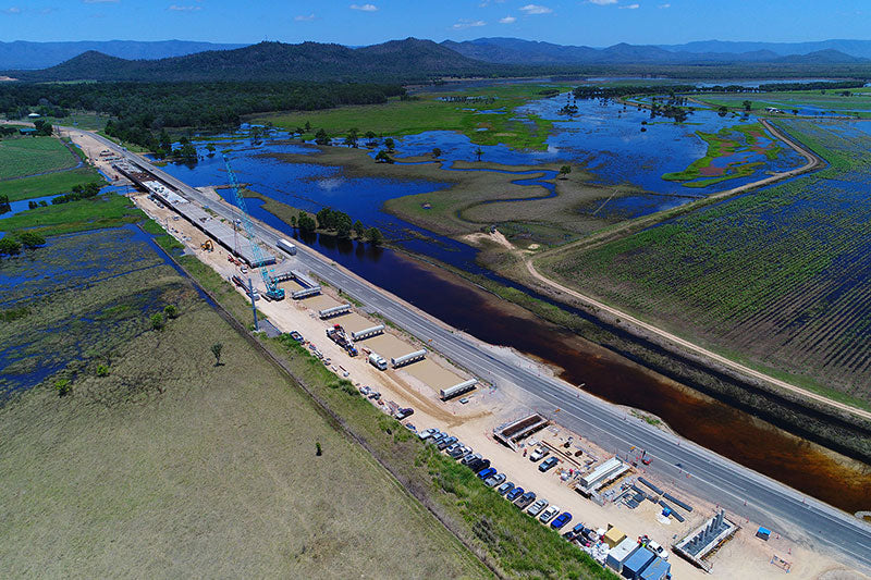 aerial imagery by my drones bridge construction with flooded farm land far north queensland droneography