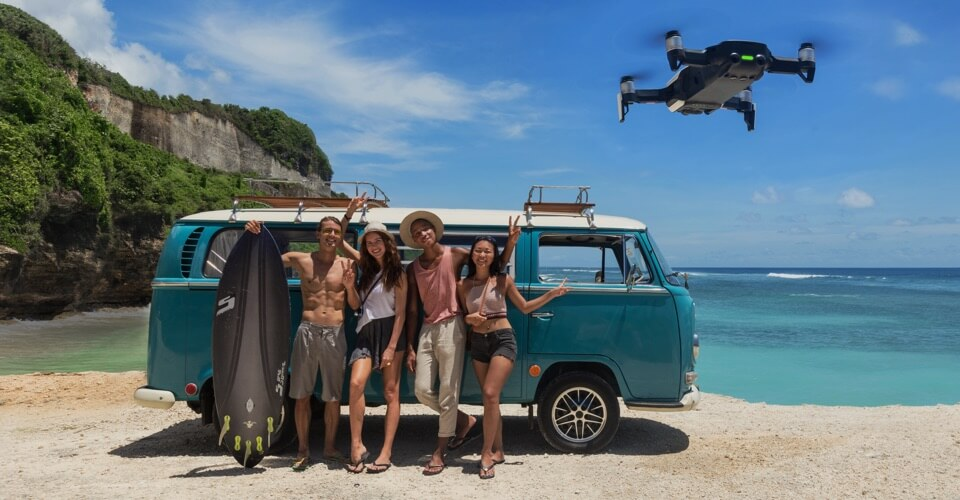 dji mavic air smart gesture capture group of people in front of combi van