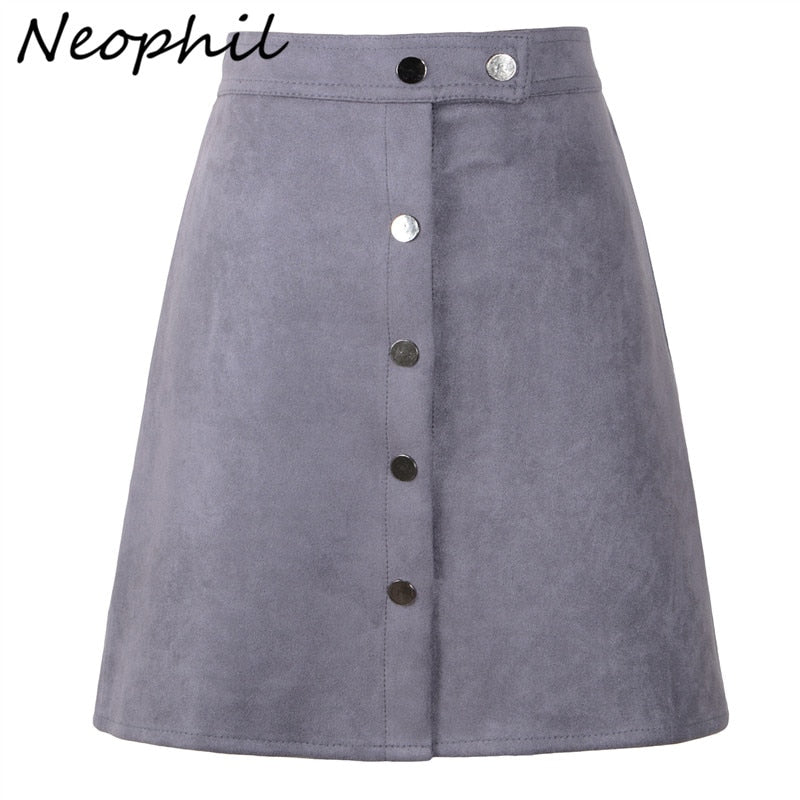 Neophil 2019 Winter Women Suede Button Mini Vintage Style A Line Skirts High Waist Black Wrap Ladies Short Skirt Tutu Saia S1001